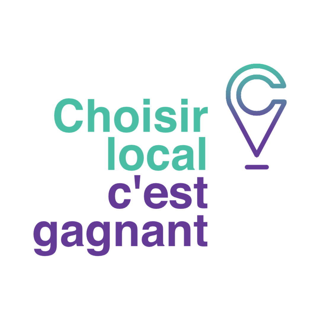 Logo de la campagne Choisir local, c'est gagnant avec une icône de localisation