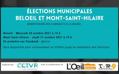 ÉLECTIONS MUNICIPALES 2021: Webdiffusions des candidats à la mairie pour les villes de Beloeil et Mont-Saint-Hilaire